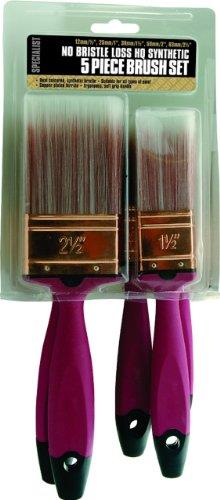 5 Pc Professional Assorted Synthetic Paint Brush Set Quality 5 Piece Soft Grip